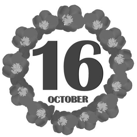 October 16, calendar day. Illustration.