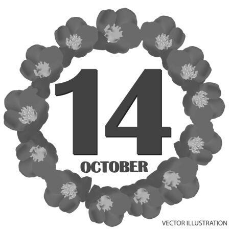 October 14, calendar day. Vector illustration. Foto de archivo - 131331616