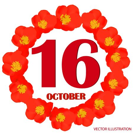 October 16 icon. For planning important day. Vector iIllustration