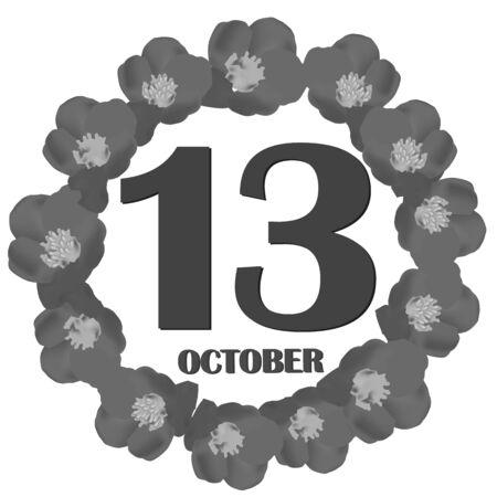 October 13, calendar day. Illustration. 版權商用圖片