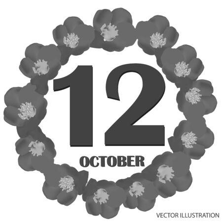 October 12, calendar day. Vector illustration.