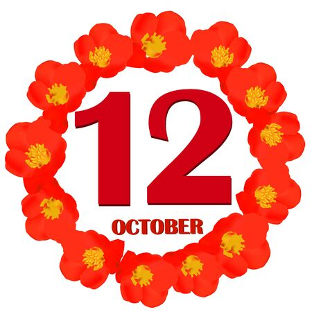 October 12 icon. For planning important day. Banner for holidays and special days. IIllustration