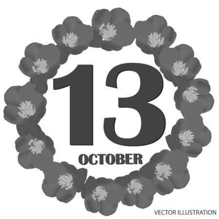 October 13, calendar day. Vector illustration.