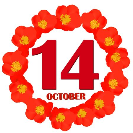 October 14 icon. For planning important day. Banner for holidays and special days. IIllustration