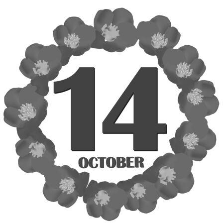 October 14, calendar day. Illustration. Foto de archivo - 131332477