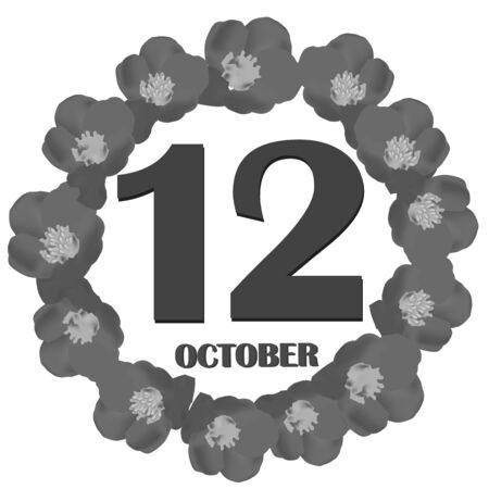 October 12, calendar day. Illustration. 版權商用圖片