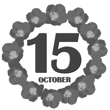 October 15 icon. For planning important day. Banner for holidays and special days. Illustration in black and white colors.