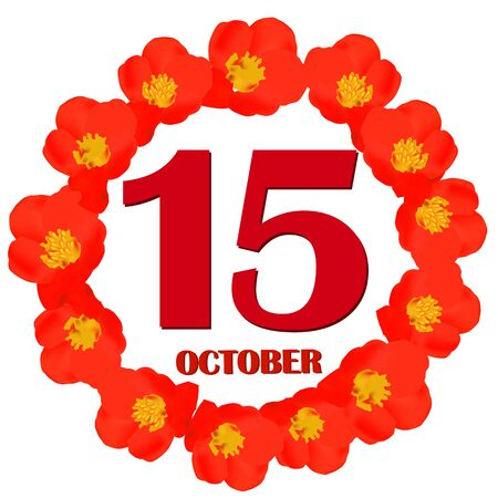 October 15 icon. For planning important day. Banner for holidays and special days. Illustration. 版權商用圖片