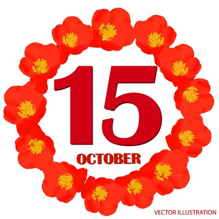October 15 icon. For planning important day. Banner for holidays and special days. Vector Illustration.