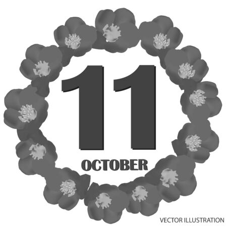 October 11 icon. For planning important day. Banner for holidays and special days. Vector illustration in black and white colors.