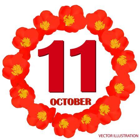 October 11 icon. For planning important day. Vector iIllustration 版權商用圖片