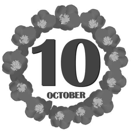 October 10, calendar day. Illustration. 版權商用圖片