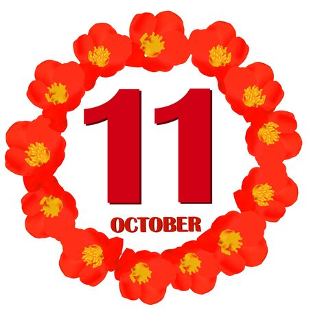 October 11 icon. For planning important day. Banner for holidays and special days. IIllustration