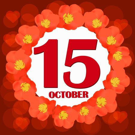 October 15 icon. For planning important day. Banner for holidays and special days. IIllustration