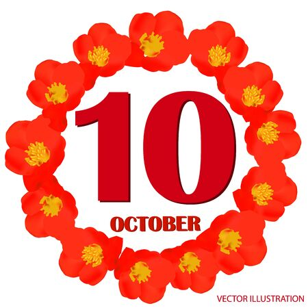 October 10 icon. For planning important day. Banner for holidays and special days. Vector Illustration.