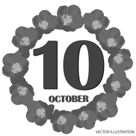 October 10 icon. For planning important day. Banner for holidays and special days. Vector illustration in black and white colors.