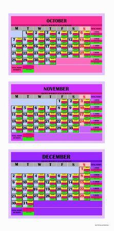Design calendar months october ,november and december 2019. Save money calendar 2019. Calendar for organization, business, family. Week Starts Monday. Year 2019 calendar. Vector illustration. Banque d'images