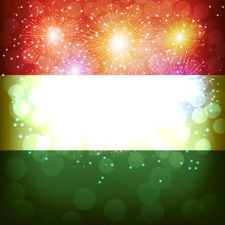 Bright firework with flag of Hungary. Happy Hungary day flag background. Illustration.