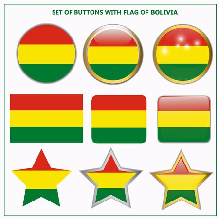 Bright buttons with flag of Bolivia. Happy Bolivia day background. Bright button with flag. Illustration with white background.