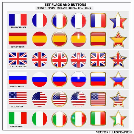 Bright set of banners with flags. Colorful illustration with flags of the world for web design. Vector illustration with white background.