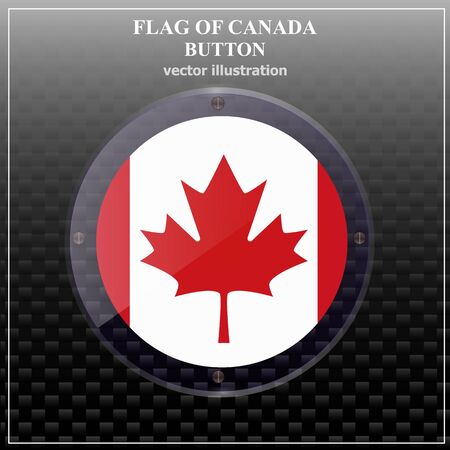 Transparent button with flag of Canada . Happy Canada day banner. Bright button with flag.