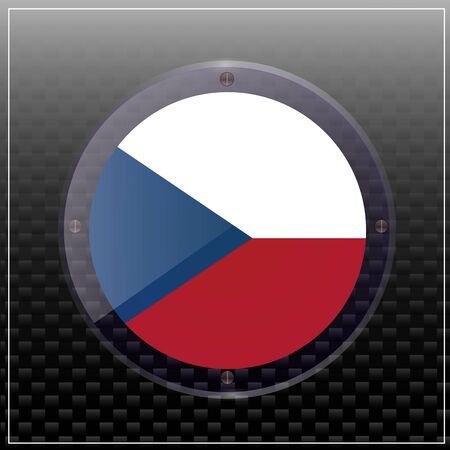 Bright transparent button with flag of Czech Republic . Happy Czech day button. Bright banner with flag.