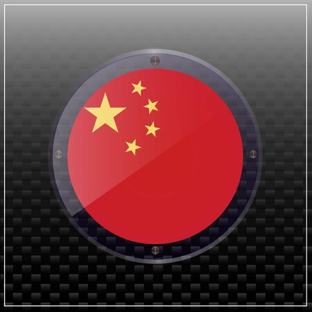 Bright transparent button with flag of China. Happy China day button. Illustration.