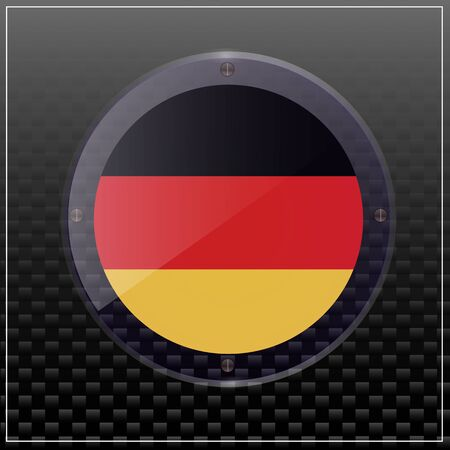 Bright transparent button with flag of Germany. Happy Germany day sticker. Banner illustration with flag. Illustration with black background.