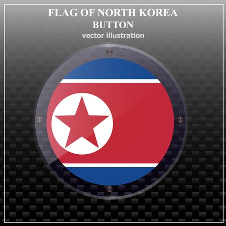 Happy North Korea day button. Bright button with flag of North Korea. Banner illustration with flag. Vector illustration. 일러스트