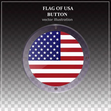Bright transparent button with flag of USA. Made in USA button. Happy America day sticker. Illustration with transparent background. Vector illustration. Çizim