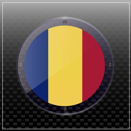 Bright transparent button with flag of Romania. Happy Romania day button. Bright illustration with flag . 写真素材