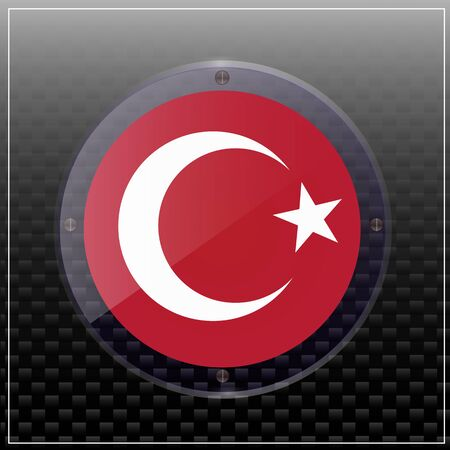 Bright transparent button with flag of Turkey. Happy Turkey day banner. Bright button with flag. Illustration with black background.