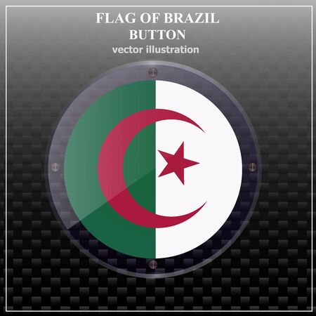 Bright transparent button with flag of Algeria. Happy Algeria day banner. Bright button with flag. Vector illustration.