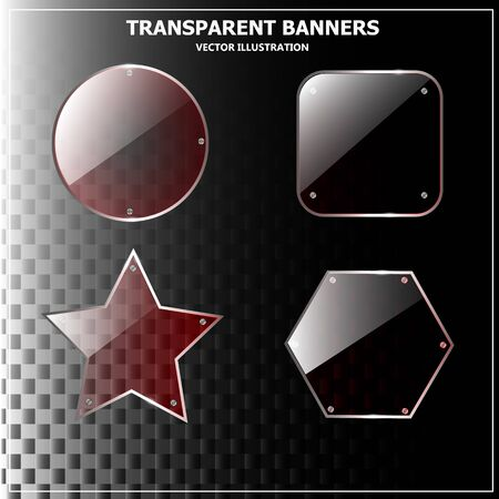 Transparent glass banners design. Vector illustration with black background. Vector.