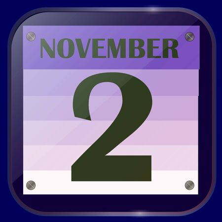 November 2 icon. For planning important day. Banner for holidays and special days. Illustration.