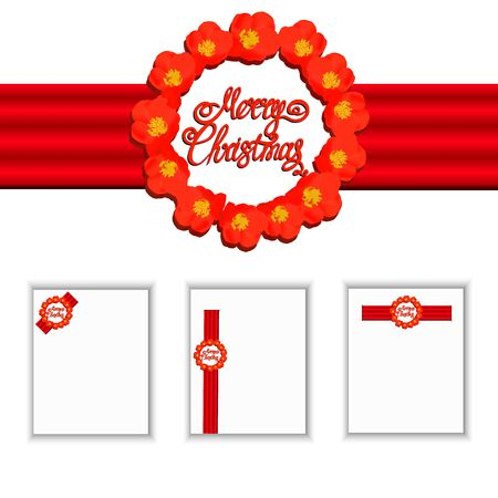 Set merry christmas banners. Bright Illustration.