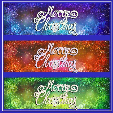 Set banners Merry Christmas. Bright illustration. Stockfoto