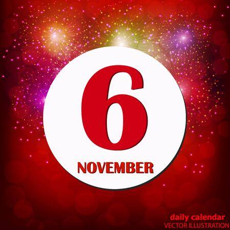 November 6 icon. For planning important day. Vector iIlustration Vektoros illusztráció