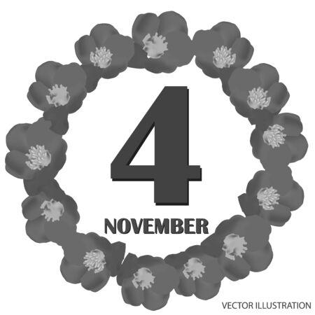November 4, calendar day. Vector illustration.
