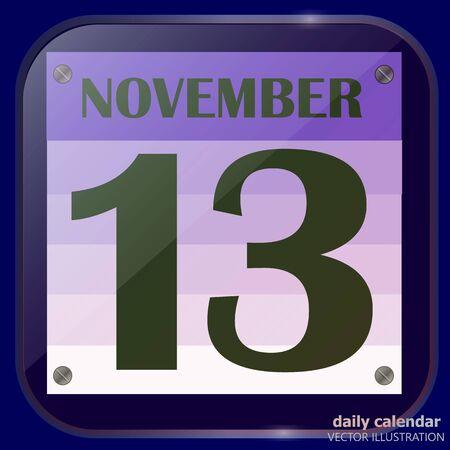 November 13 icon. For planning important day. Vektoros illusztráció