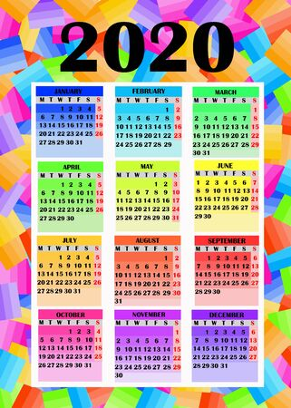 Colorful design for calendar 2020.