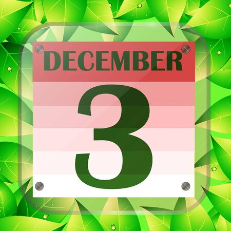 December 3 icon. Calendar date for planning important day with green leaves.