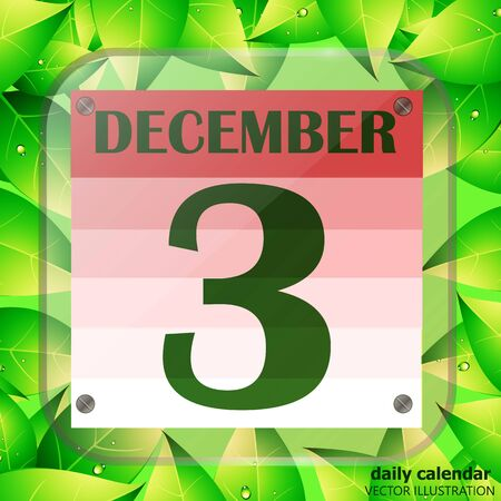 December 3 icon. Calendar date for planning important day with green leaves. Vector.