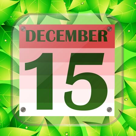 December 15 icon. Calendar date for planning important day with green leaves.