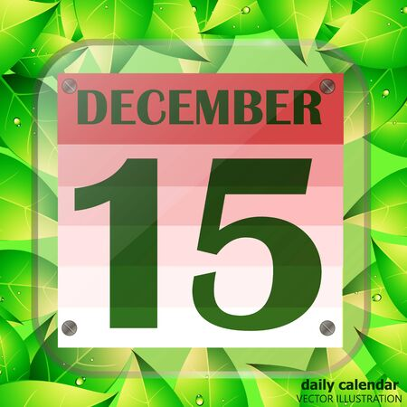 December 15 icon. Calendar date for planning important day with green leaves. Vector.