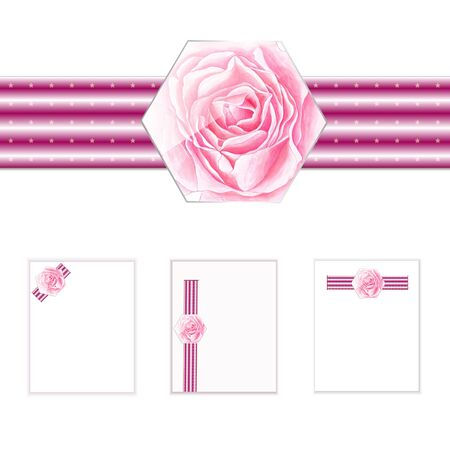 Design elements with rose for holidays. Blanks for planning important day with painted rose. Illustration.