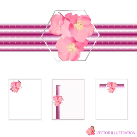 Design elements with spring flowers for holidays. Vector Illustration.