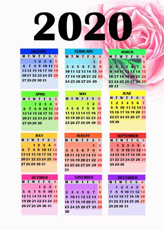 Year 2020 calendar. Colorful design for calendar 2020 with painted rose.