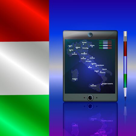 Background with Italy map and flag on the tablet, computer, telefon. Bright illustration.