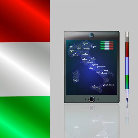 Background with Italy map and flag on the tablet, computer, telefon. Bright illustration with white background. Stock Photo
